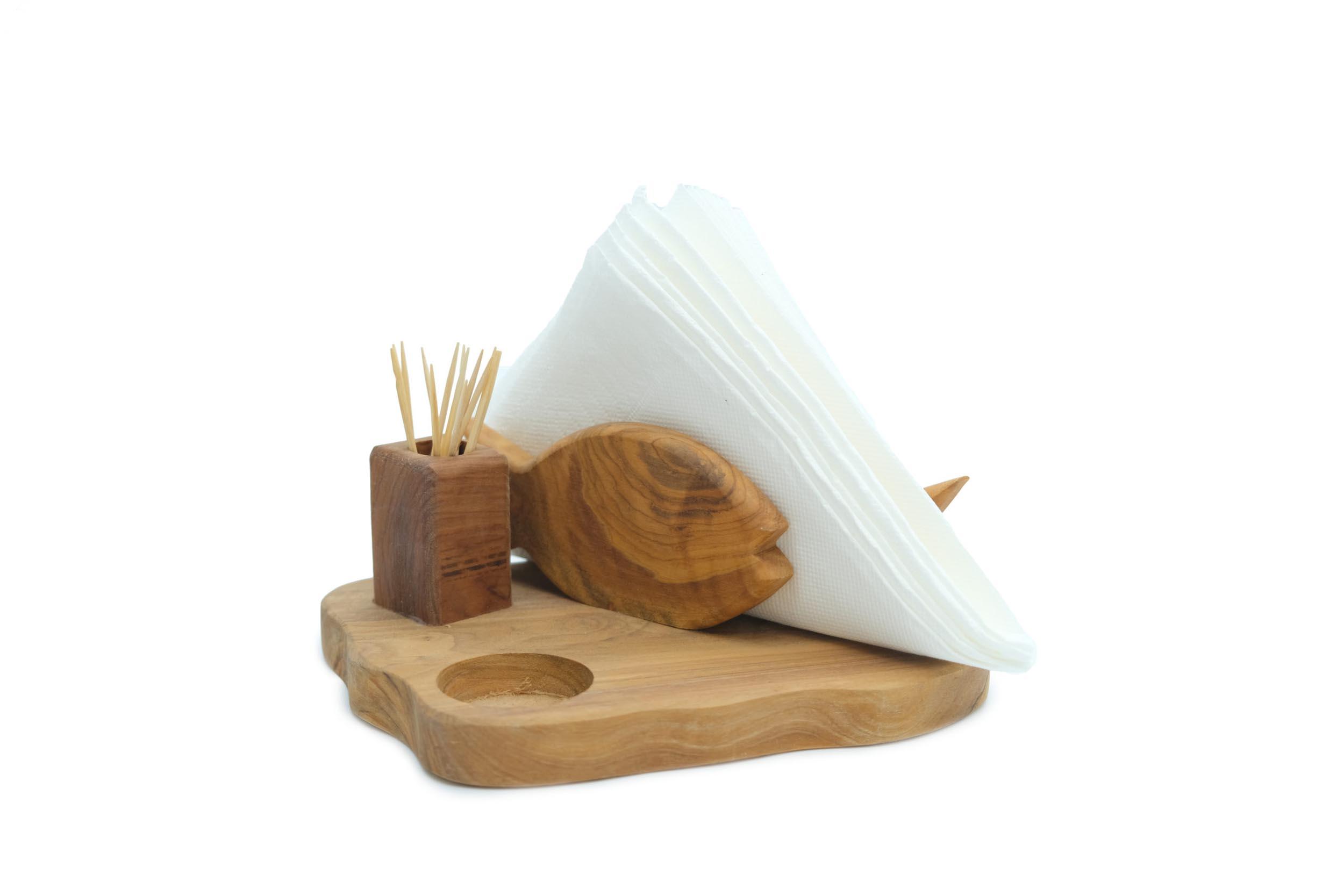 Olive Wood Napkin Holder Fish Toothpick Salt Pepper Olive Tree Handmade Olive Wood